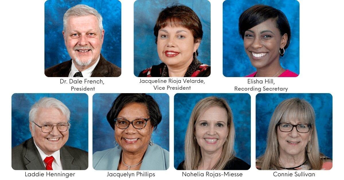 Headshots of each of all seven board members.