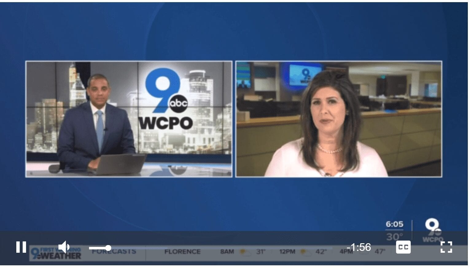 Two newscasters sit at the desk. The WCPO 9 on your side logo is superimposed on the image.
